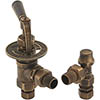 Kirkham Traditional Angled Radiator Valves - Antique Brass profile small image view 1