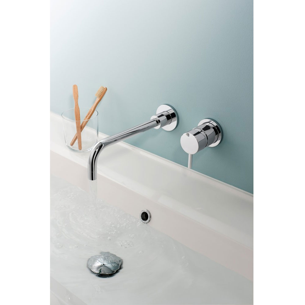 Crosswater - Kai Lever Wall Mounted 2 Hole Set Basin Mixer - KL120WNC profile large image view 2