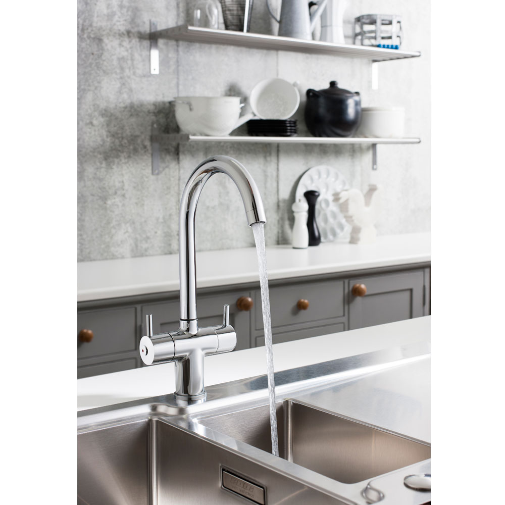 Crosswater - Cucina Kai Lever Dual Lever Kitchen Mixer - Chrome - KL711DC profile large image view 2