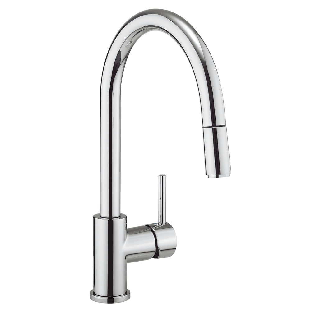 Crosswater - Cucina Kai Lever Side Lever Kitchen Mixer with Pull Out Spray - Chrome - KL717DC Large Image