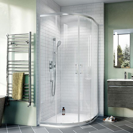 Crosswater 800 x 800mm Kai 6 Quadrant Double Door Shower Enclosure - KLQDS0800