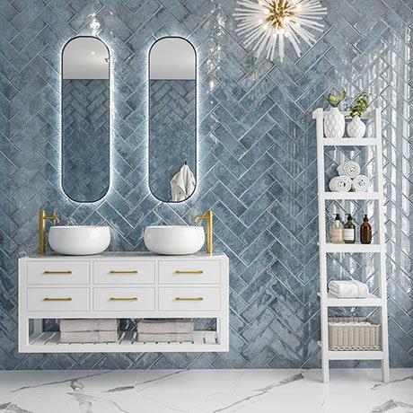 Kenley Blue Gloss Chevron Effect Wall Tiles - 100 x 300mm