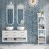 Kenley Blue Gloss Chevron Effect Wall Tiles - 100 x 300mm Small Image
