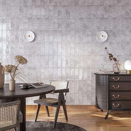 Kenley Grey Gloss Chevron Effect Wall Tiles - 100 x 300mm