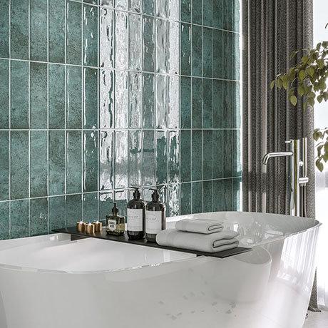 Kenley Green Gloss Chevron Effect Wall Tiles - 100 x 300mm