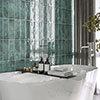 Kenley Green Gloss Chevron Effect Wall Tiles - 100 x 300mm Small Image