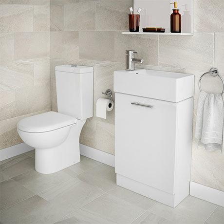 Knedlington Short Projection Toilet with 480mm Cabinet + Basin Set