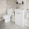 Knedlington Short Projection Toilet with 480mm Cabinet + Basin Set profile small image view 1