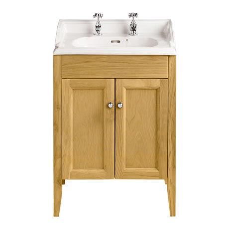 Heritage - Caversham Freestanding Dorchester Square Vanity Unit with Chrome Handles & Basin - Oak