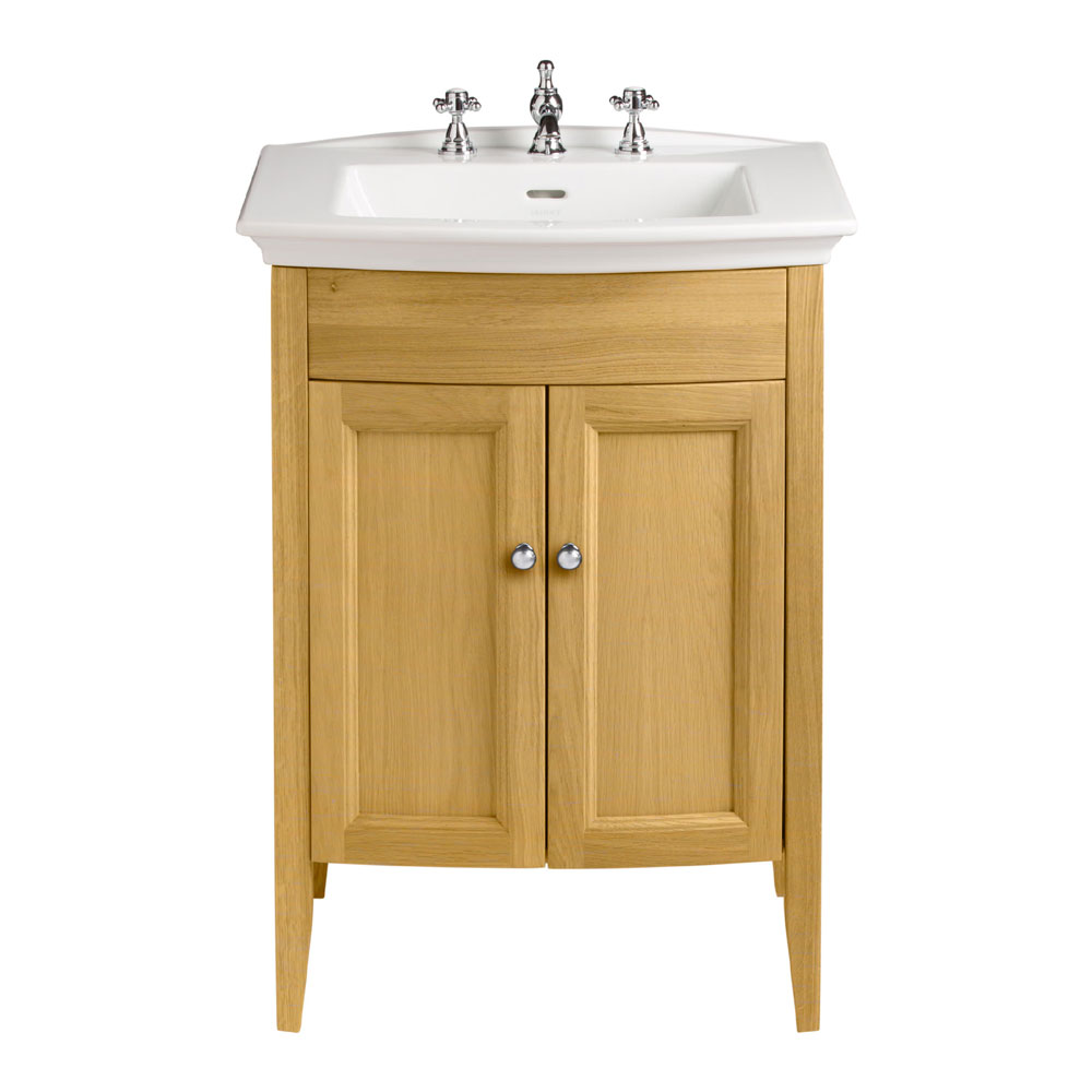 Heritage - Caversham Freestanding Blenheim Vanity Unit with Chrome Handles & 3TH Basin - Oak profile large image view 1