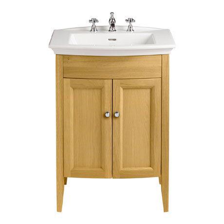 Heritage - Caversham Freestanding Blenheim Vanity Unit with Chrome Handles & 3TH Basin - Oak