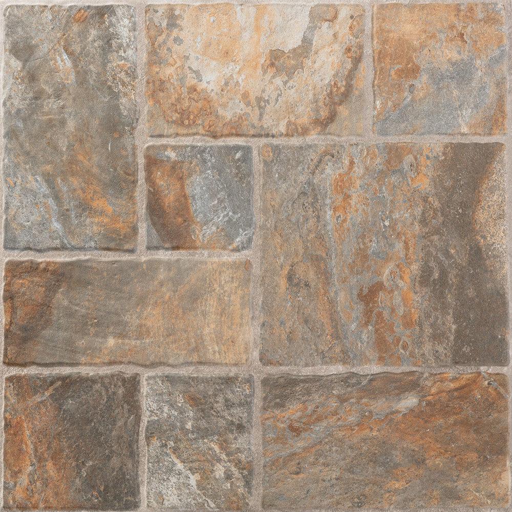 Kochi Brown/Grey Stone Effect Floor Tiles | Bathroom Flooring Ideas