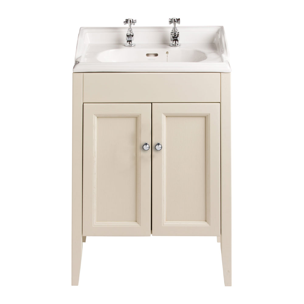 Heritage - Caversham Freestanding Dorchester Square Vanity Unit with Chrome Handles & Basin - Oyster profile large image view 1