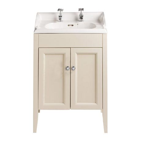 Heritage - Caversham Freestanding Dorchester Square Vanity Unit with Chrome Handles & Basin - Oyster