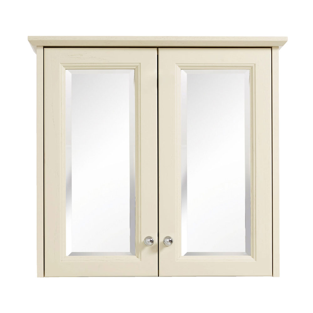 Heritage - Caversham Double Door Mirrored Wall Cabinet with Chrome Handles - Various Colour Options Large Image