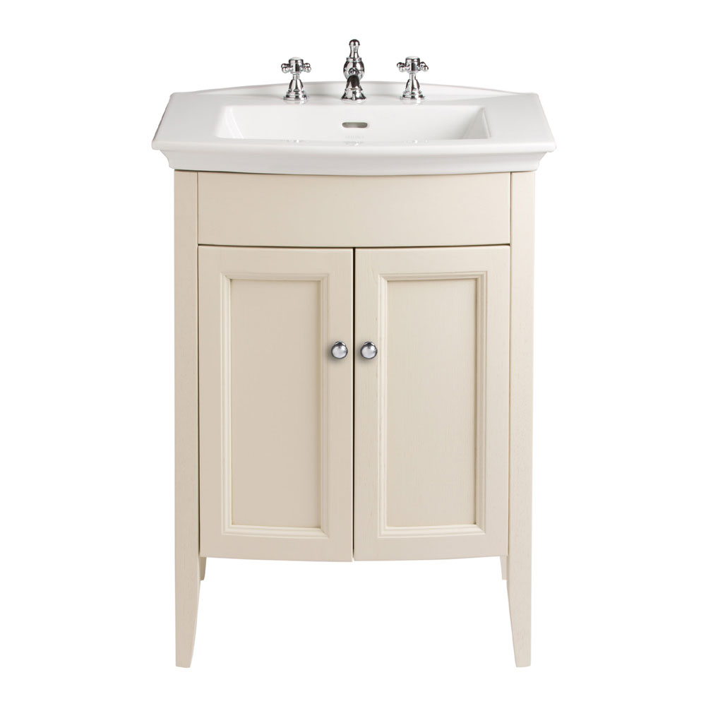 Heritage - Caversham Freestanding Blenheim Vanity Unit with Chrome Handles & 3TH Basin - Oyster Larg
