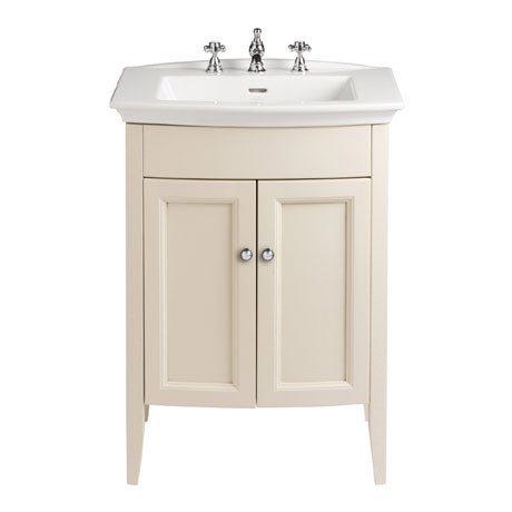 Heritage - Caversham Freestanding Blenheim Vanity Unit with Chrome Handles & 3TH Basin - Oyster