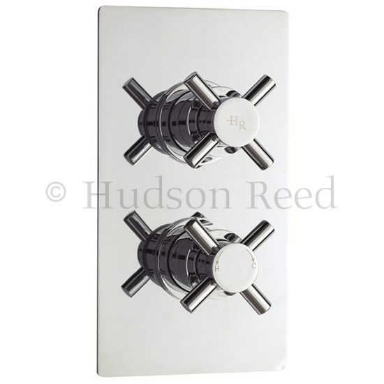 Hudson Reed Kristal Twin Concealed Thermostatic Shower Valve with Rigid Riser Kit Feature Large Imag