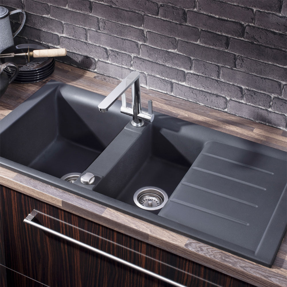 Crosswater - Cucina Tempo 1.5 Bowl Kitchen Sink with Drainer - KS_TE10050RB profile large image view 2
