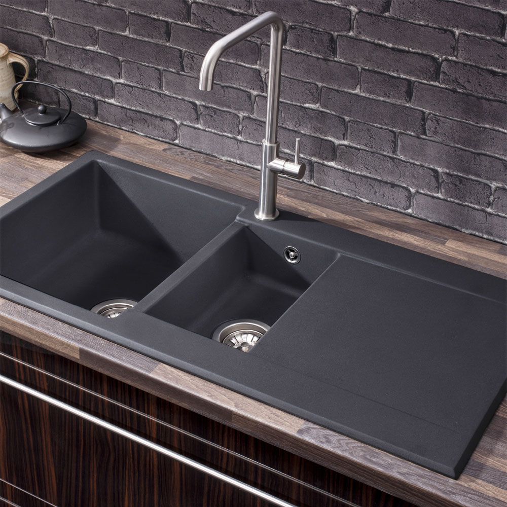 Crosswater - Cucina Tone 1.5 Bowl Kitchen Sink with Drainer - KS_TN10051RB profile large image view 2