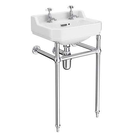 Keswick Traditional Basin & Chrome Wash Stand - 500mm Wide