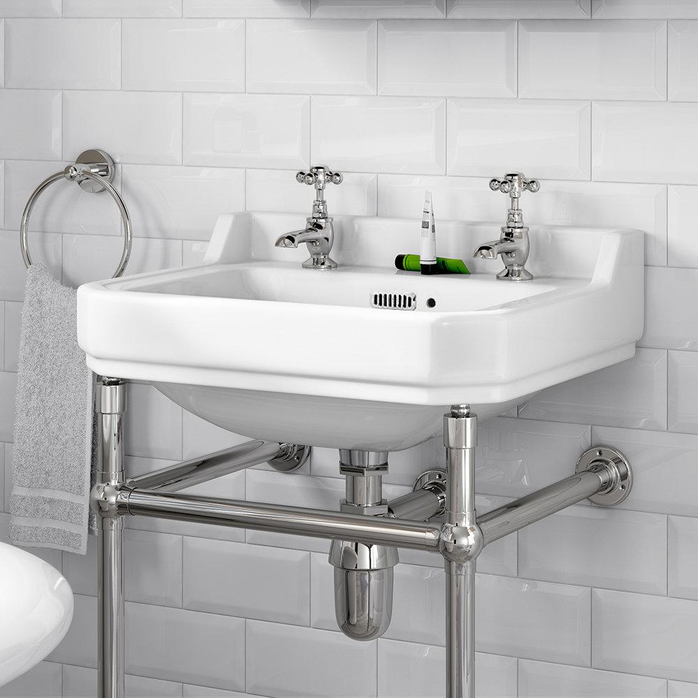 Keswick Traditional 500mm Basin & Chrome Wash Stand