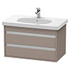 Duravit Ketho 800mm 2-Drawer Wall Mounted Vanity Unit with D-Code Basin - Basalt Matt profile small image view 1