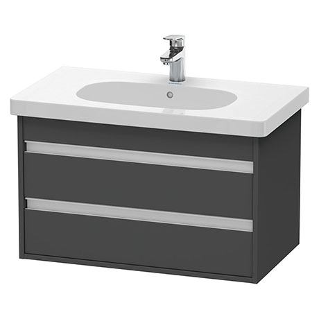 Duravit Ketho 800mm 2-Drawer Wall Mounted Vanity Unit with D-Code Basin - Graphite Matt