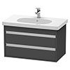 Duravit Ketho 800mm 2-Drawer Wall Mounted Vanity Unit with D-Code Basin - Graphite Matt profile small image view 1