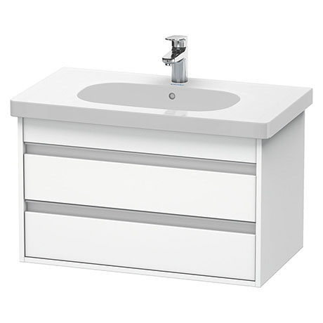 Duravit Ketho 800mm 2-Drawer Wall Mounted Vanity Unit with D-Code Basin - White Matt