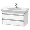 Duravit Ketho 800mm 2-Drawer Wall Mounted Vanity Unit with D-Code Basin - White Matt profile small image view 1