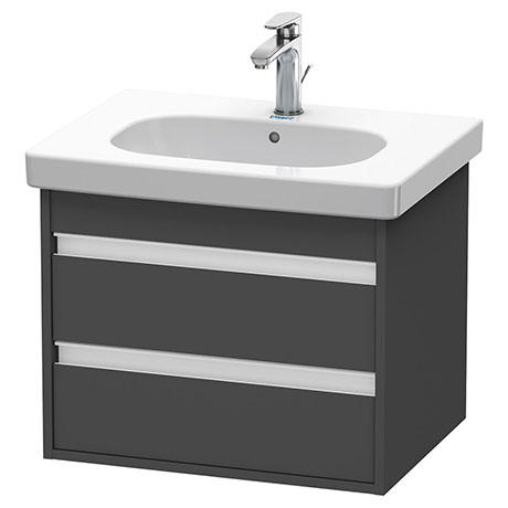 Duravit Ketho 600mm 2-Drawer Wall Mounted Vanity Unit with D-Code Basin - Graphite Matt