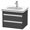 Duravit Ketho 600mm 2-Drawer Wall Mounted Vanity Unit with D-Code Basin - Graphite Matt profile small image view 1