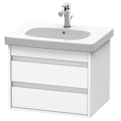 Duravit Ketho 600mm 2-Drawer Wall Mounted Vanity Unit with D-Code Basin - White Matt