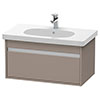 Duravit Ketho 800mm 1-Drawer Wall Mounted Vanity Unit with D-Code Basin - Basalt Matt profile small image view 1