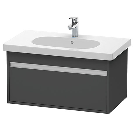 Duravit Ketho 800mm 1-Drawer Wall Mounted Vanity Unit with D-Code Basin - Graphite Matt