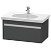 Duravit Ketho 800mm 1-Drawer Wall Mounted Vanity Unit with D-Code Basin - Graphite Matt profile small image view 1