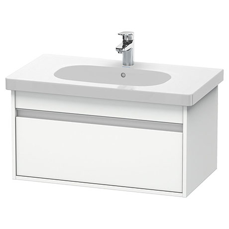 Duravit Ketho 800mm 1-Drawer Wall Mounted Vanity Unit with D-Code Basin - White Matt
