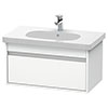 Duravit Ketho 800mm 1-Drawer Wall Mounted Vanity Unit with D-Code Basin - White Matt profile small image view 1