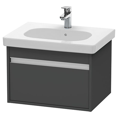 Duravit Ketho 600mm 1-Drawer Wall Mounted Vanity Unit with D-Code Basin - Graphite Matt