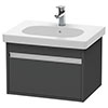 Duravit Ketho 600mm 1-Drawer Wall Mounted Vanity Unit with D-Code Basin - Graphite Matt profile small image view 1