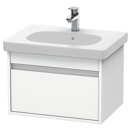 Duravit Ketho 600mm 1-Drawer Wall Mounted Vanity Unit with D-Code Basin - White Matt