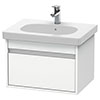 Duravit Ketho 600mm 1-Drawer Wall Mounted Vanity Unit with D-Code Basin - White Matt profile small image view 1