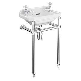 Keswick Traditional 515mm Cloakroom Basin 2TH & Chrome Wash Stand