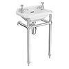 Keswick Traditional 515mm Cloakroom Basin 2TH & Chrome Wash Stand profile small image view 1