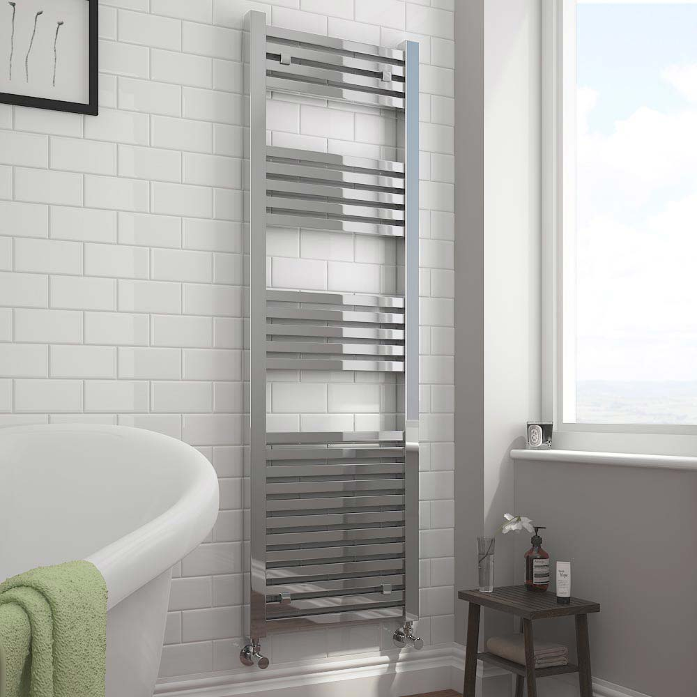 Cube Heated Towel Rail - Chrome (500 x 1600mm) profile large image view 2