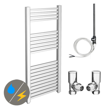 Cube 600 x 1200mm Heated Towel Rail (Inc. Valves + Electric Heating Kit)