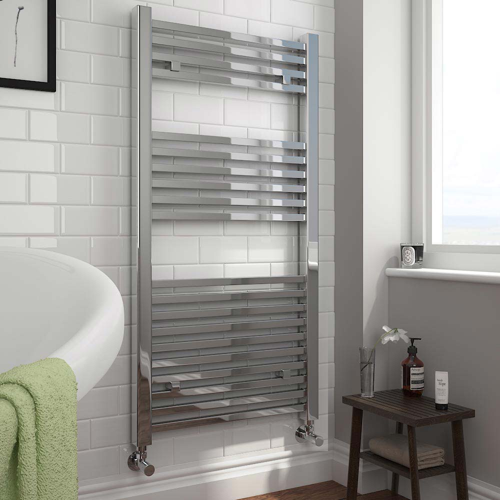 Cube Heated Towel Rail - Chrome (600 x 1200mm) profile large image view 2