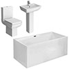 Kubic Modern Free Standing Bathroom Suite profile small image view 1