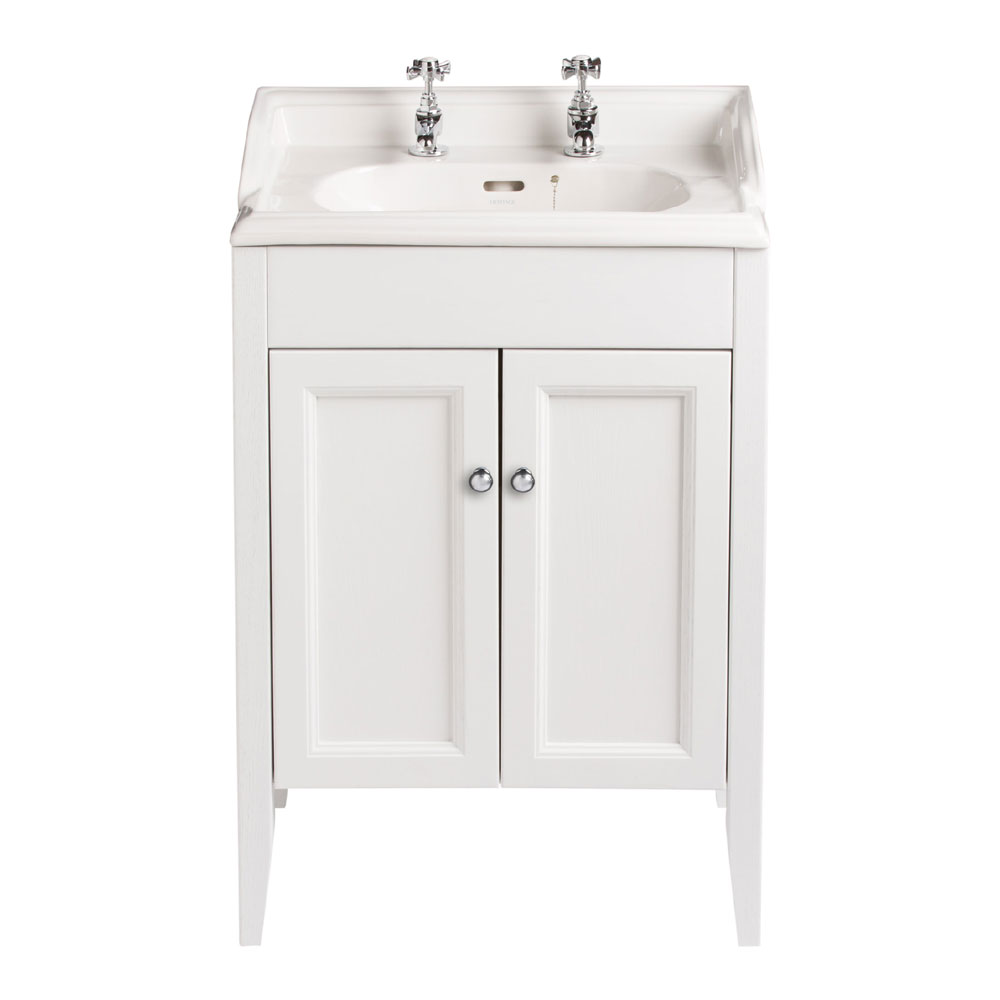 Heritage - Caversham Freestanding Dorchester Square Vanity Unit with Chrome Handles & Basin - White Ash profile large image view 1